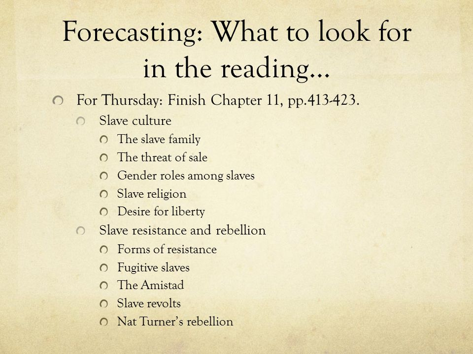 Forecasting: What to look for in the reading…