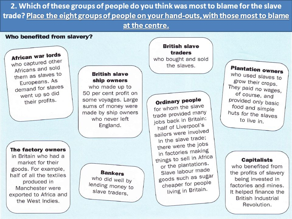 1. Look at these groups of people who benefited from the slave trade