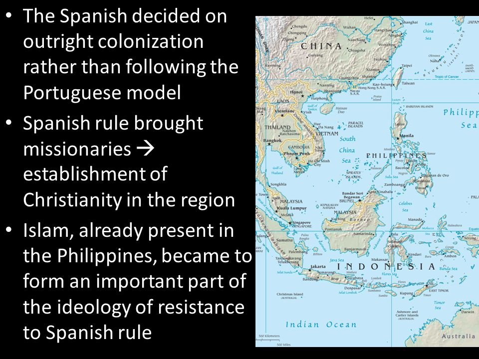 The Spanish decided on outright colonization rather than following the Portuguese model