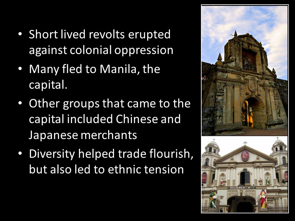 Short lived revolts erupted against colonial oppression