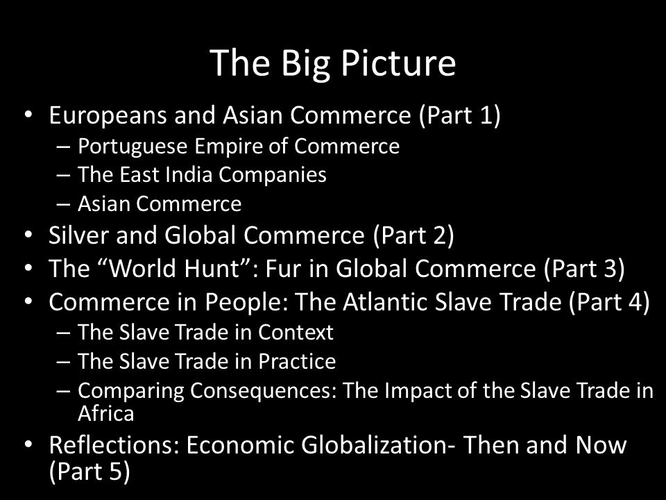 The Big Picture Europeans and Asian Commerce (Part 1)