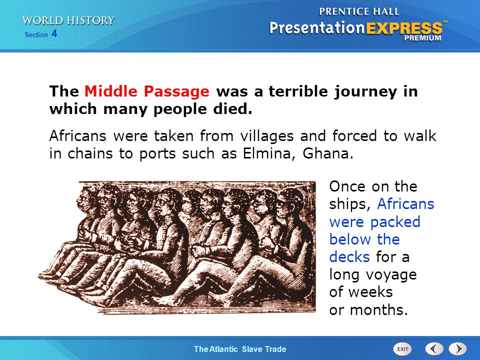 The Middle Passage was a terrible journey in which many people died.