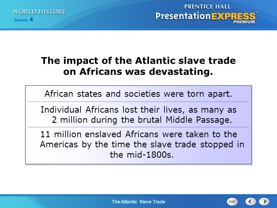 The impact of the Atlantic slave trade on Africans was devastating.