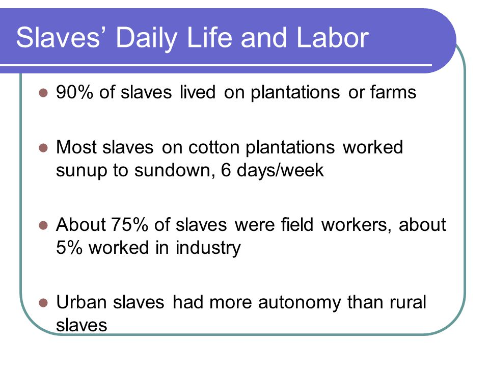 Slaves' Daily Life and Labor