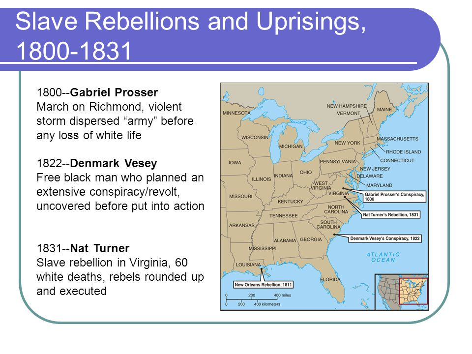 Slave Rebellions and Uprisings, 1800-1831