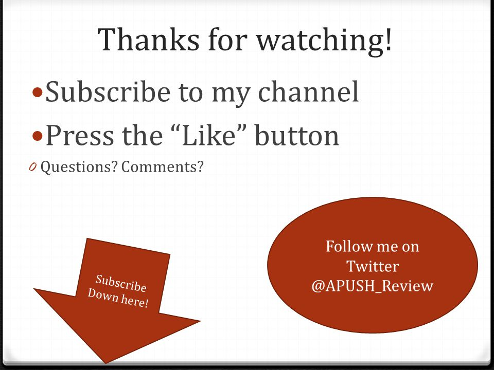 Follow me on Twitter @APUSH_Review