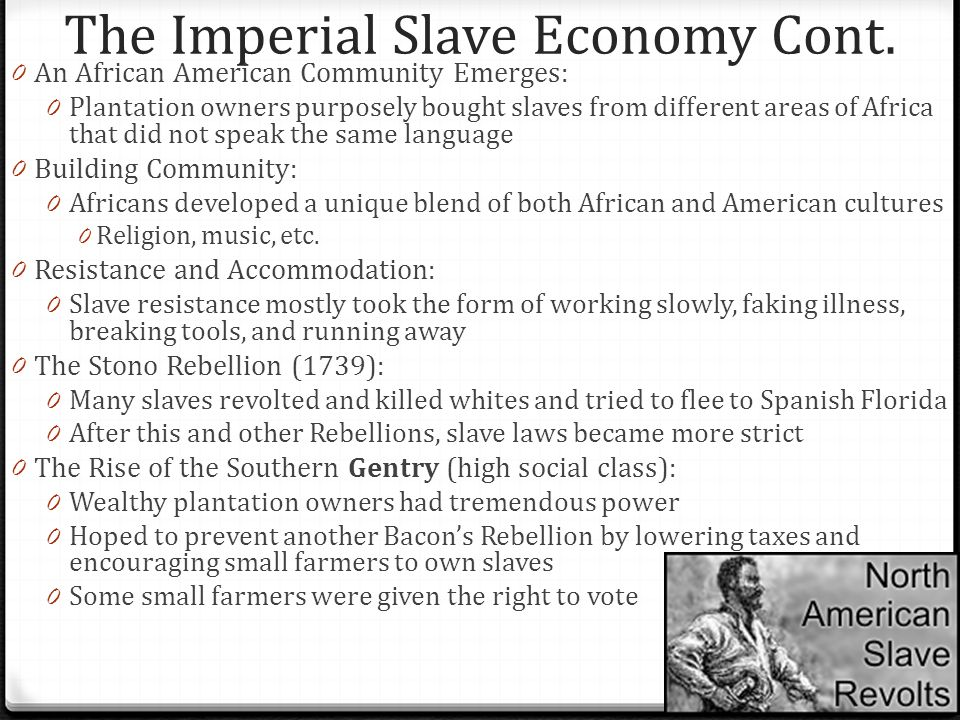 The Imperial Slave Economy Cont.