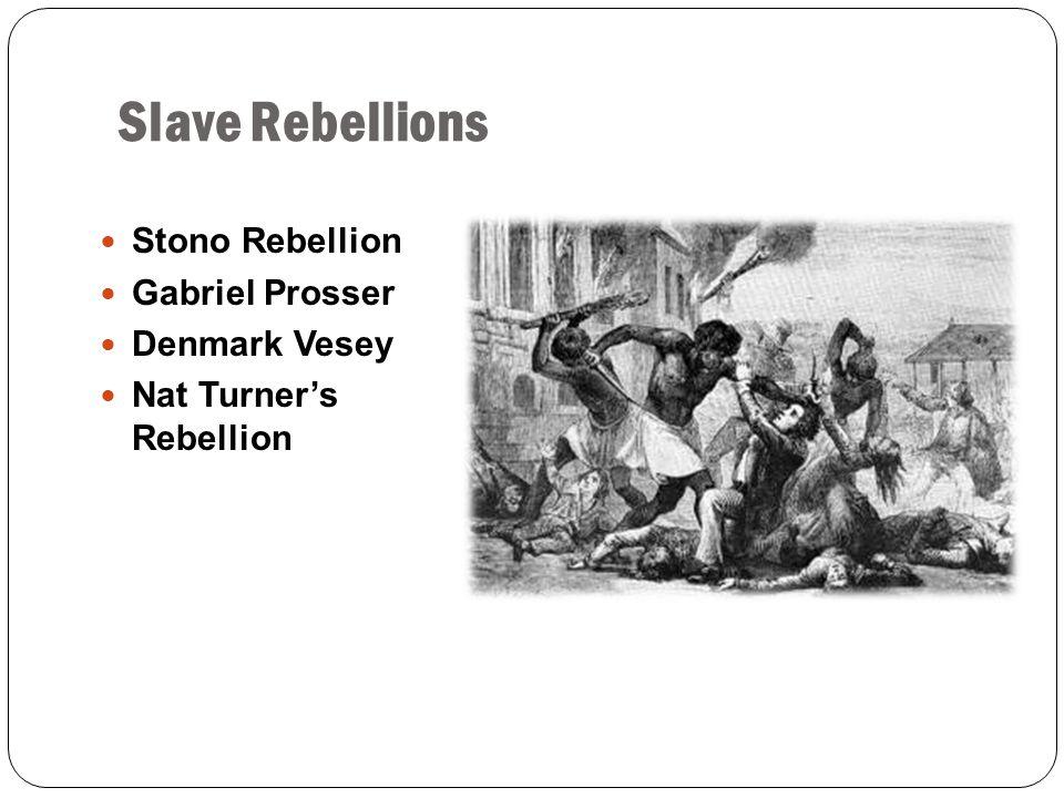 Slave Rebellions Stono Rebellion Gabriel Prosser Denmark Vesey