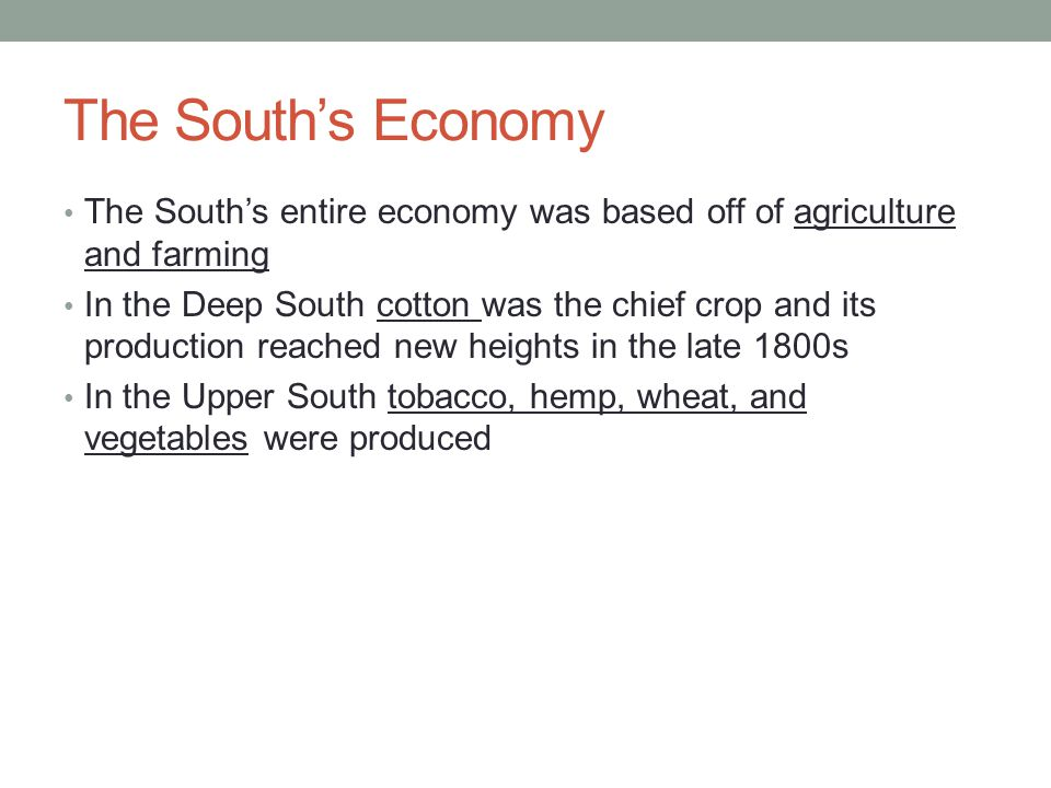 The South's Economy The South's entire economy was based off of agriculture and farming.