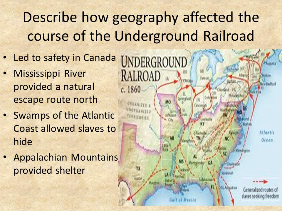 Describe how geography affected the course of the Underground Railroad