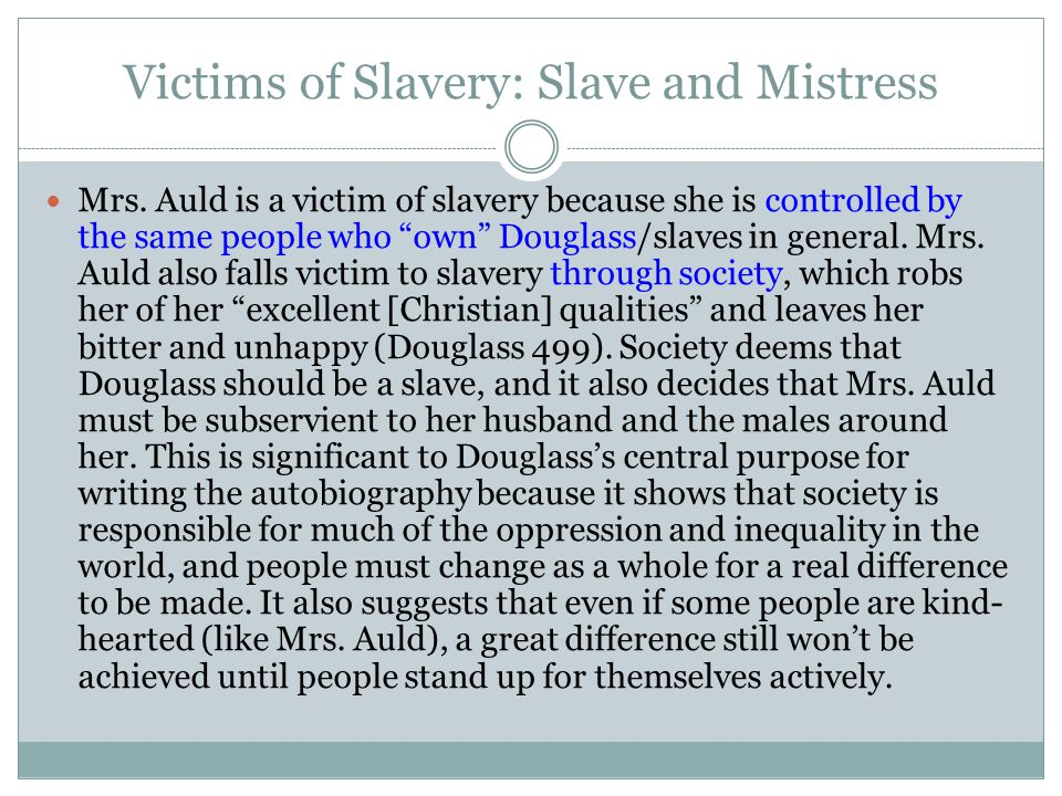 Victims of Slavery: Slave and Mistress