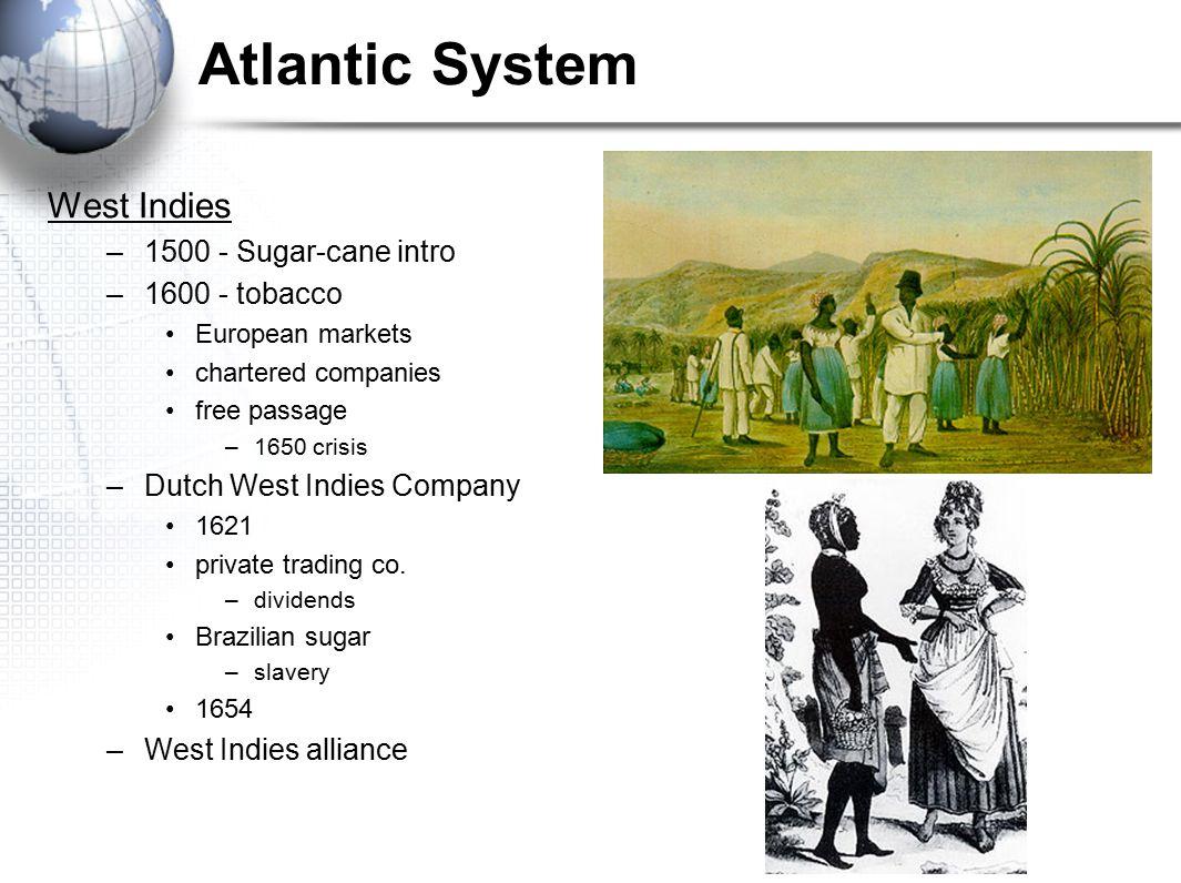 Atlantic System West Indies 1500 - Sugar-cane intro 1600 - tobacco
