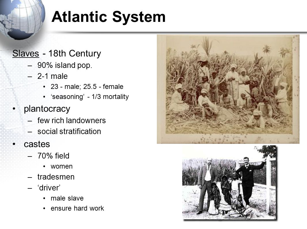 Atlantic System Slaves - 18th Century plantocracy castes