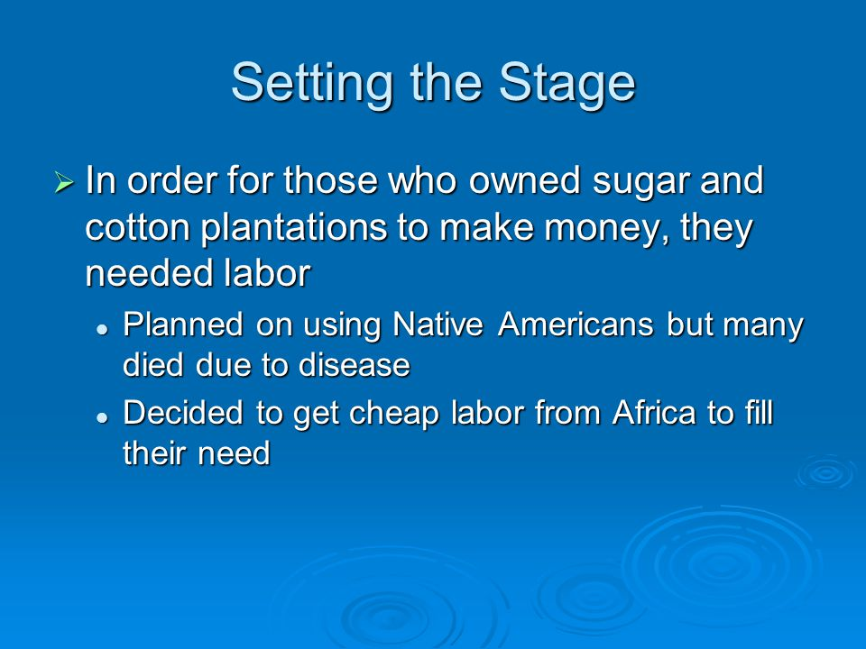 Setting the Stage In order for those who owned sugar and cotton plantations to make money, they needed labor.