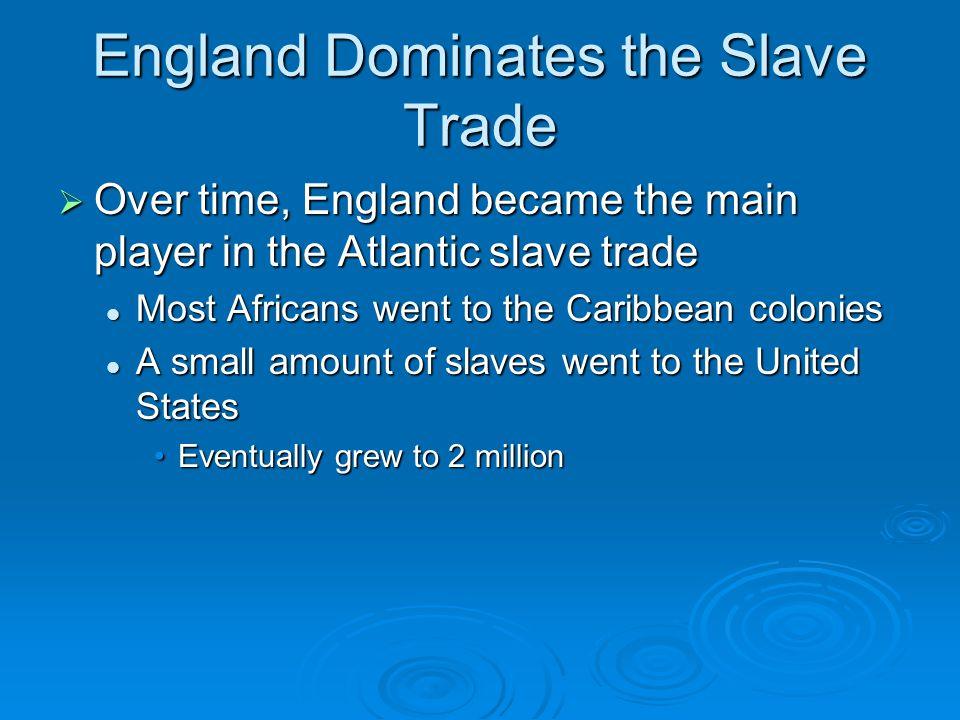 England Dominates the Slave Trade