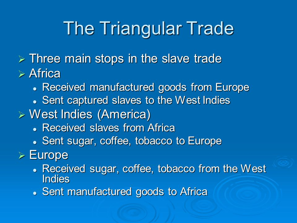 The Triangular Trade Three main stops in the slave trade Africa