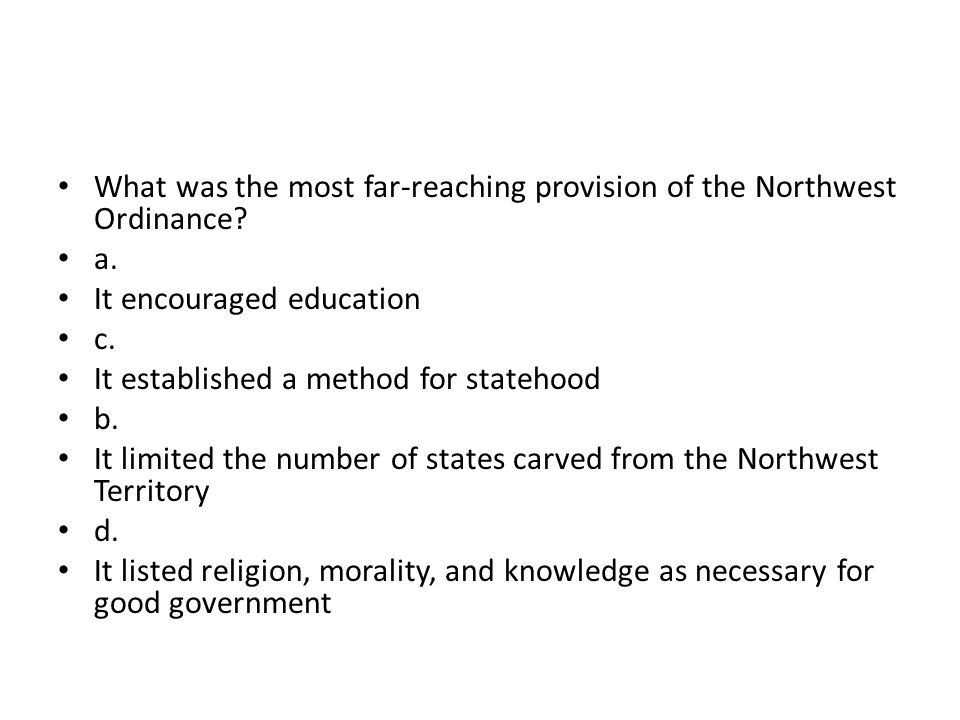 What was the most far-reaching provision of the Northwest Ordinance