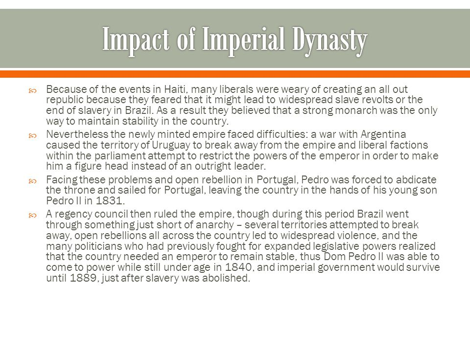 Impact of Imperial Dynasty