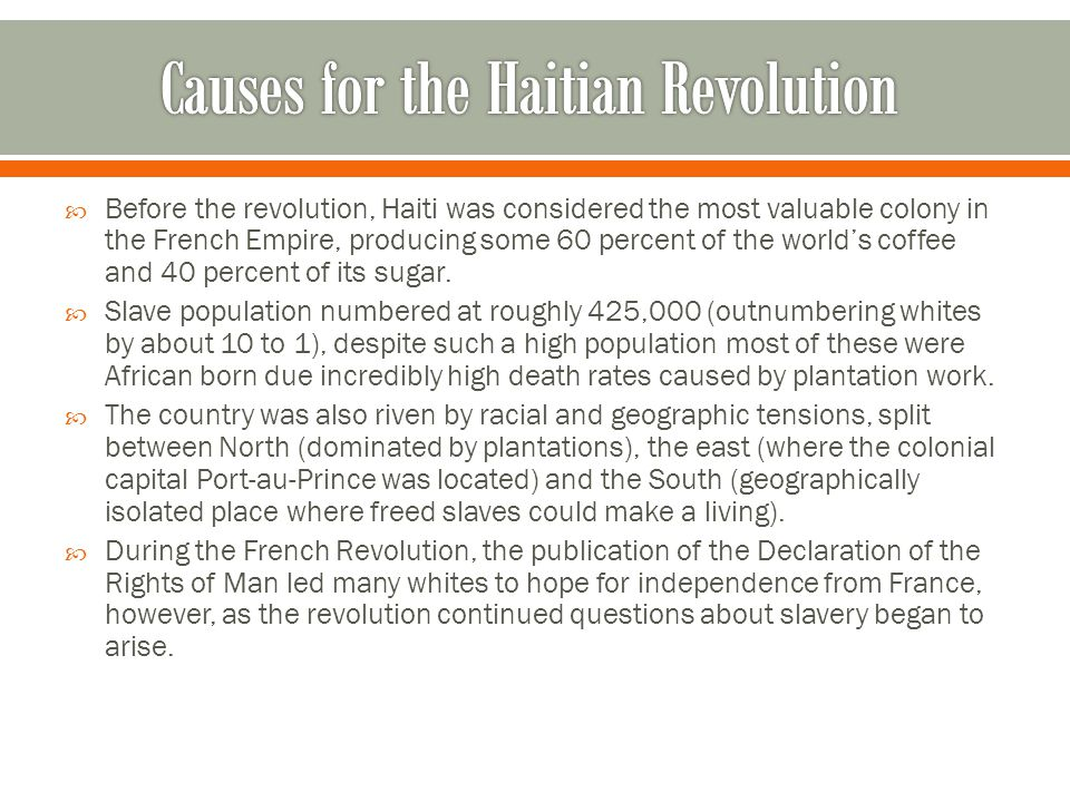 Causes for the Haitian Revolution
