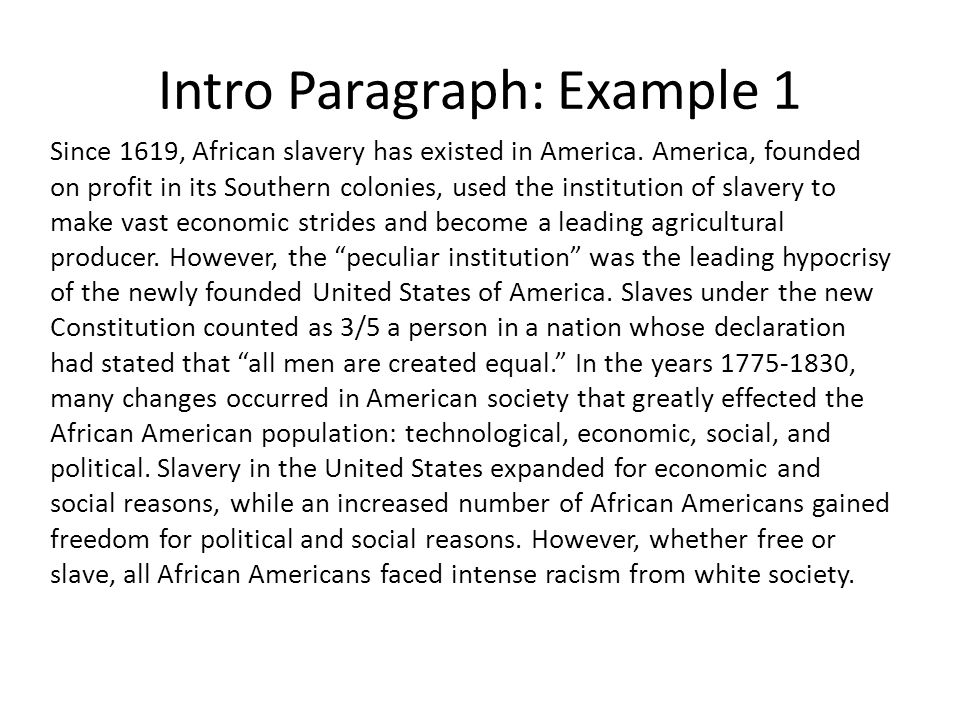 slavery in america essay introduction Slavery in america this research paper slavery in america and other 64,000+ term papers, college essay examples and free essays are available now on reviewessayscom autor: review • december 9, 2010 • research paper • 421 words (2 pages) • 1,293 views.