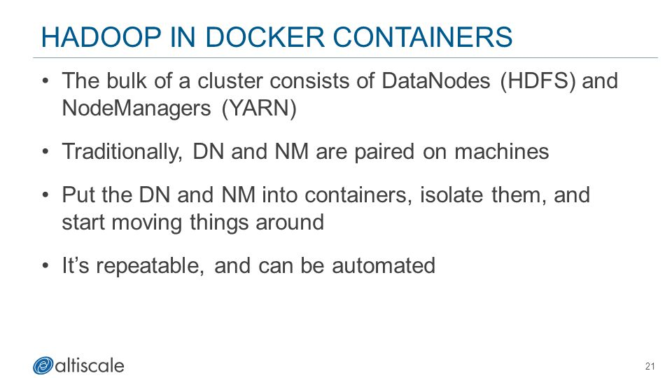 Hadoop in Docker Containers