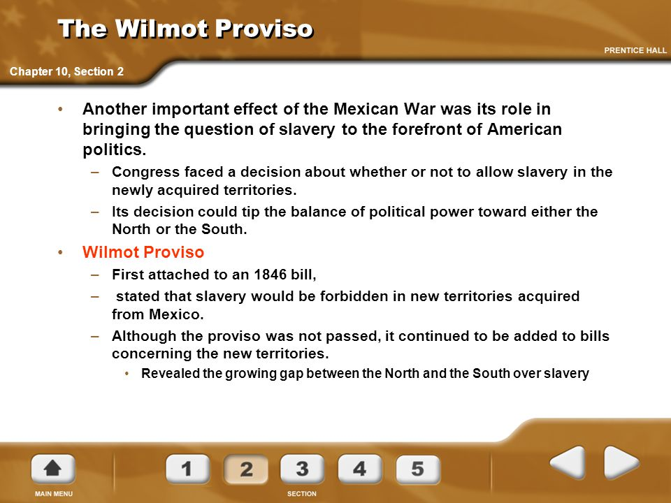 The Wilmot Proviso Chapter 10, Section 2.