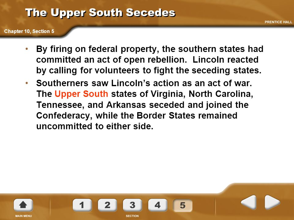 The Upper South Secedes