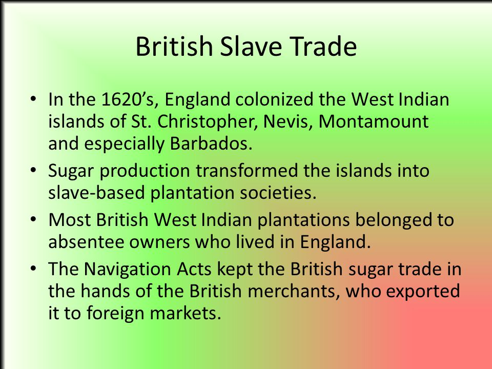 British Slave Trade In the 1620's, England colonized the West Indian islands of St. Christopher, Nevis, Montamount and especially Barbados.