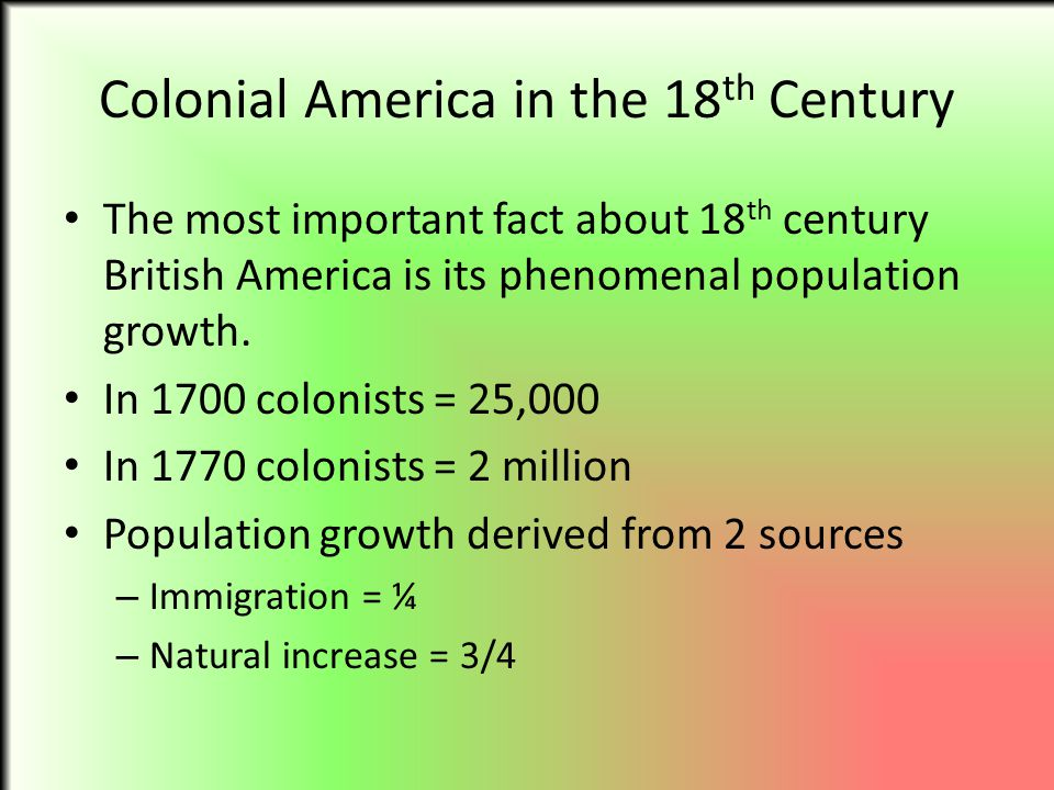 Colonial America in the 18th Century