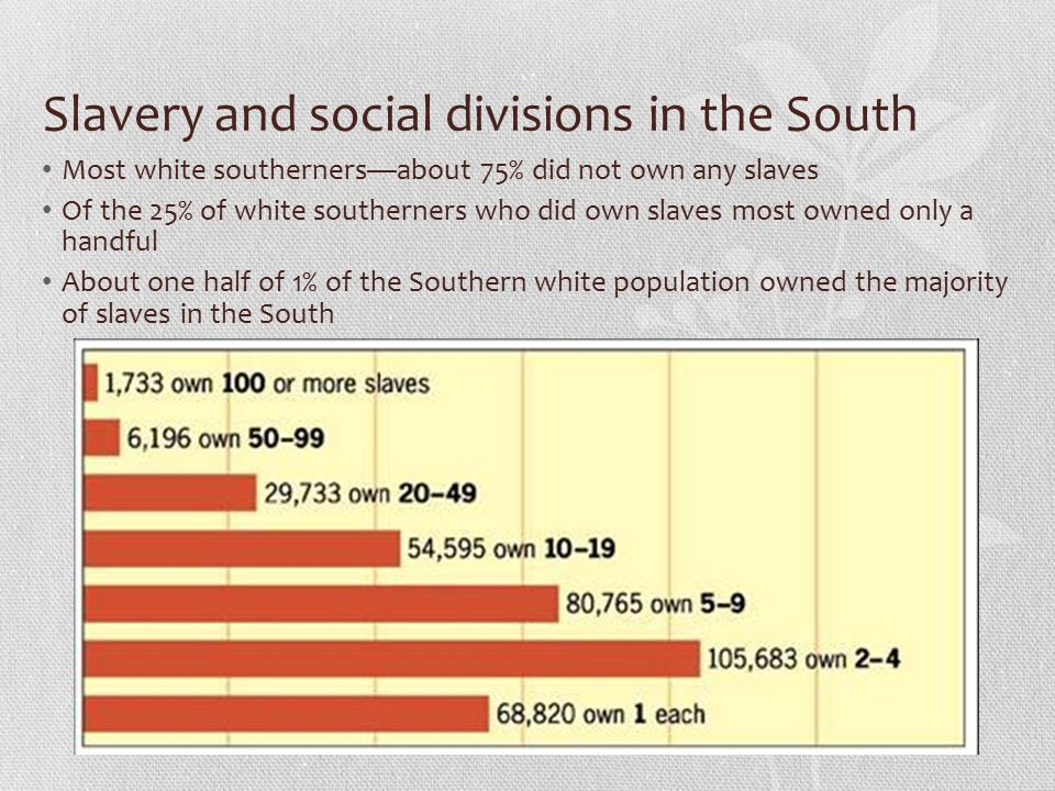 Slavery and social divisions in the South