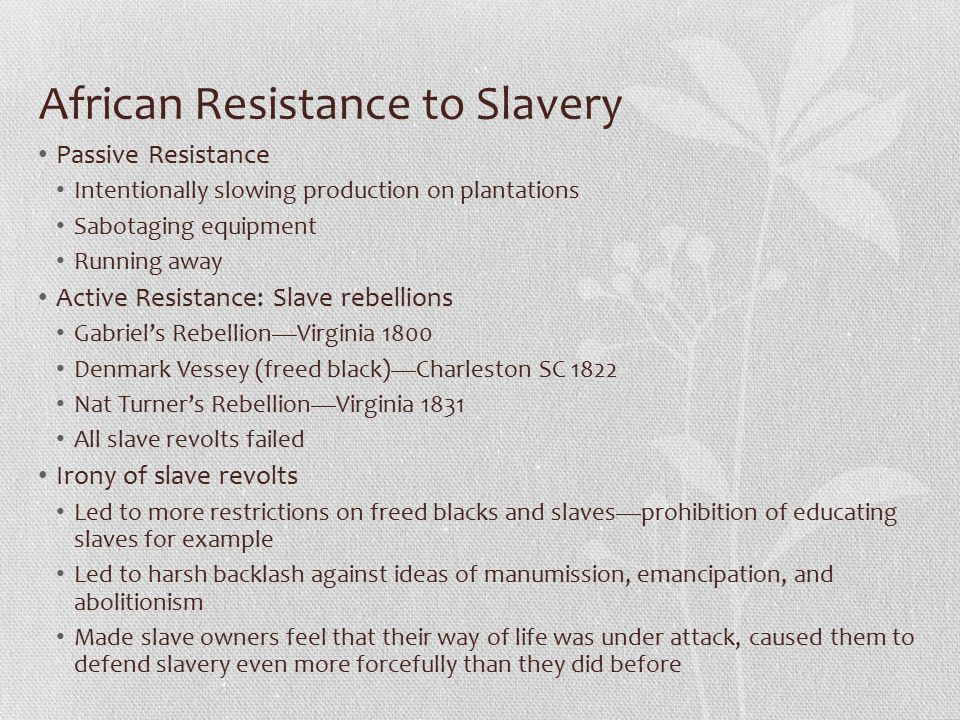 African Resistance to Slavery