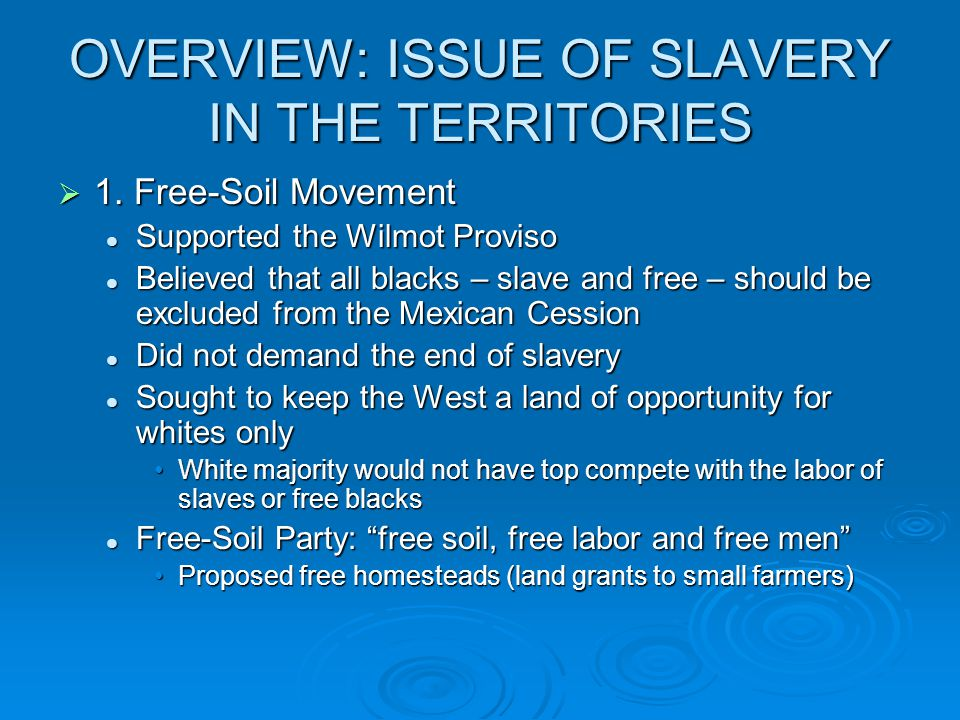 OVERVIEW: ISSUE OF SLAVERY IN THE TERRITORIES