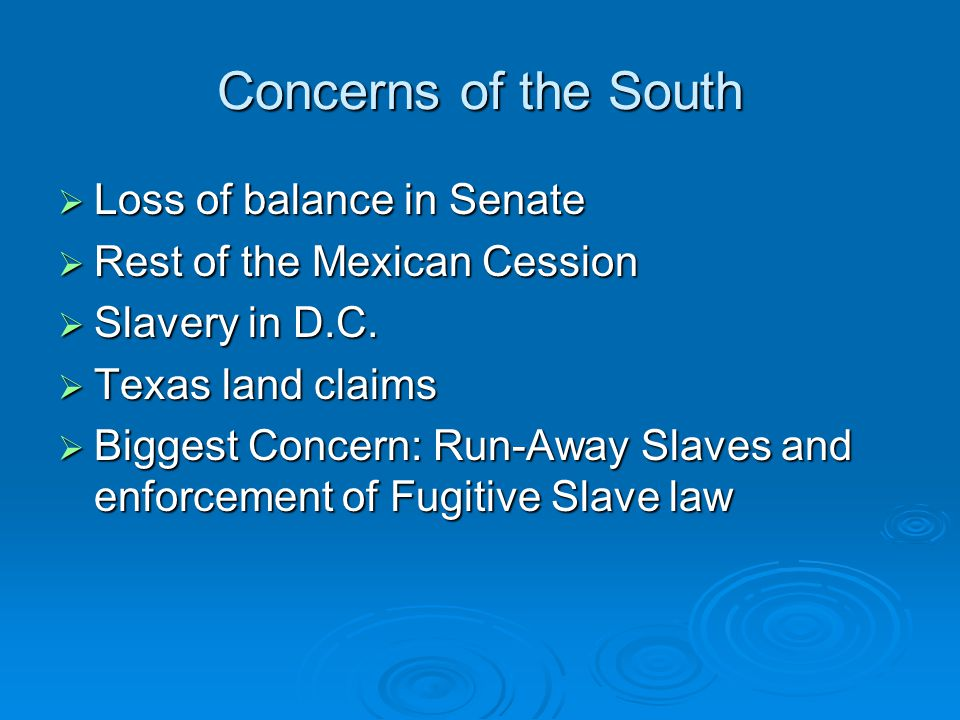 Concerns of the South Loss of balance in Senate