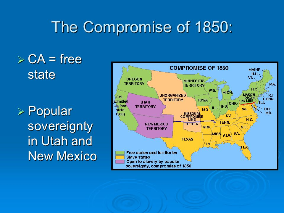 The Compromise of 1850: CA = free state