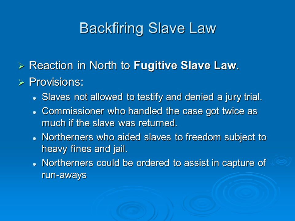 Backfiring Slave Law Reaction in North to Fugitive Slave Law.