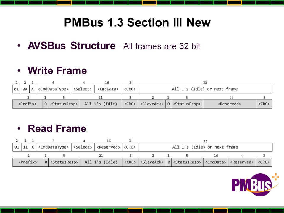 PMBus 1.3 Section III New AVSBus Structure - All frames are 32 bit