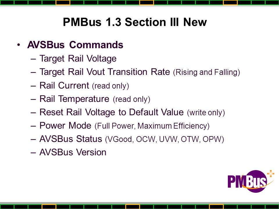 PMBus 1.3 Section III New AVSBus Commands Target Rail Voltage