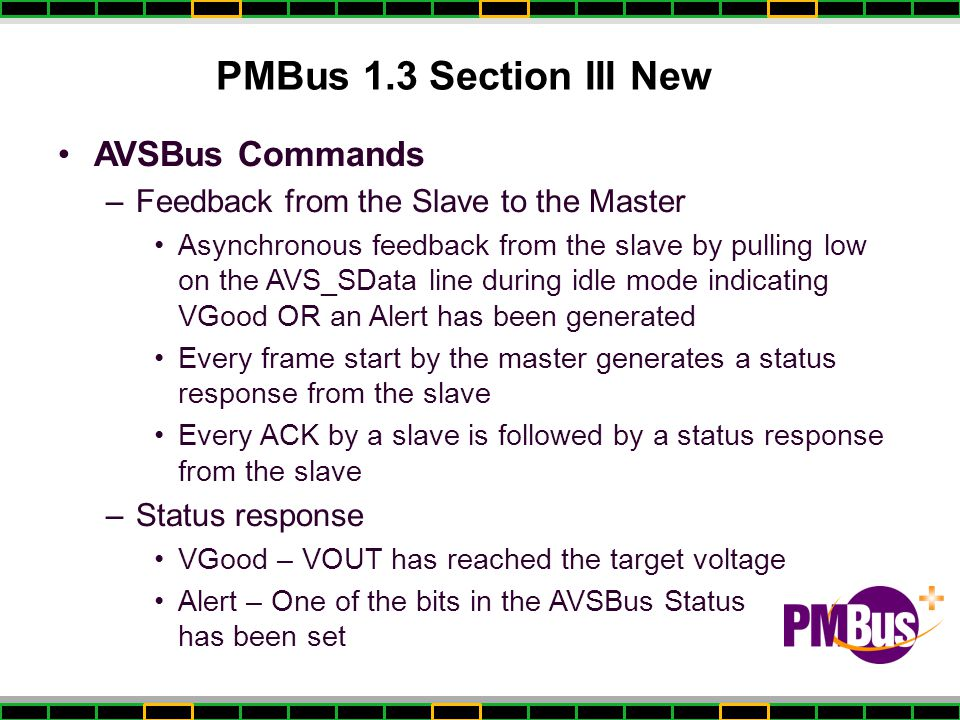 PMBus 1.3 Section III New AVSBus Commands