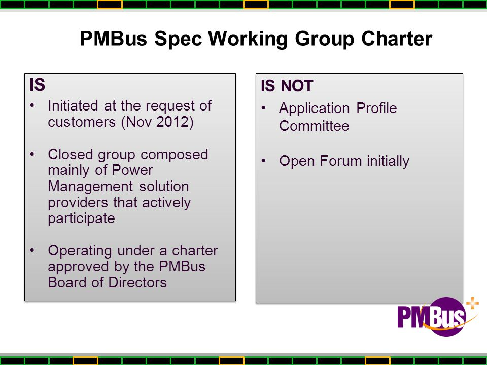 PMBus Spec Working Group Charter
