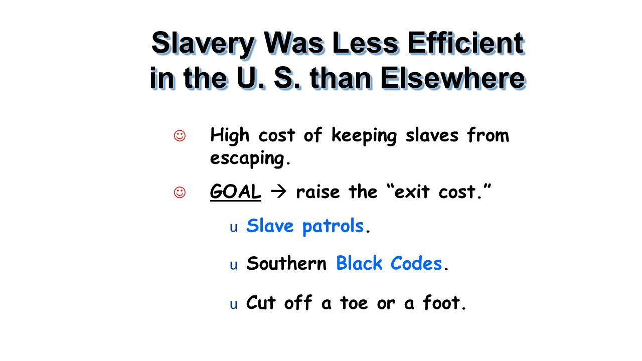 Slavery Was Less Efficient in the U. S. than Elsewhere