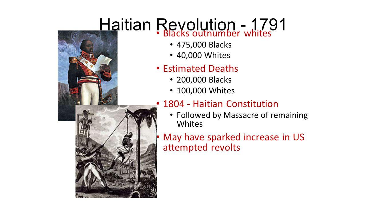 Haitian Revolution - 1791 Blacks outnumber whites Estimated Deaths