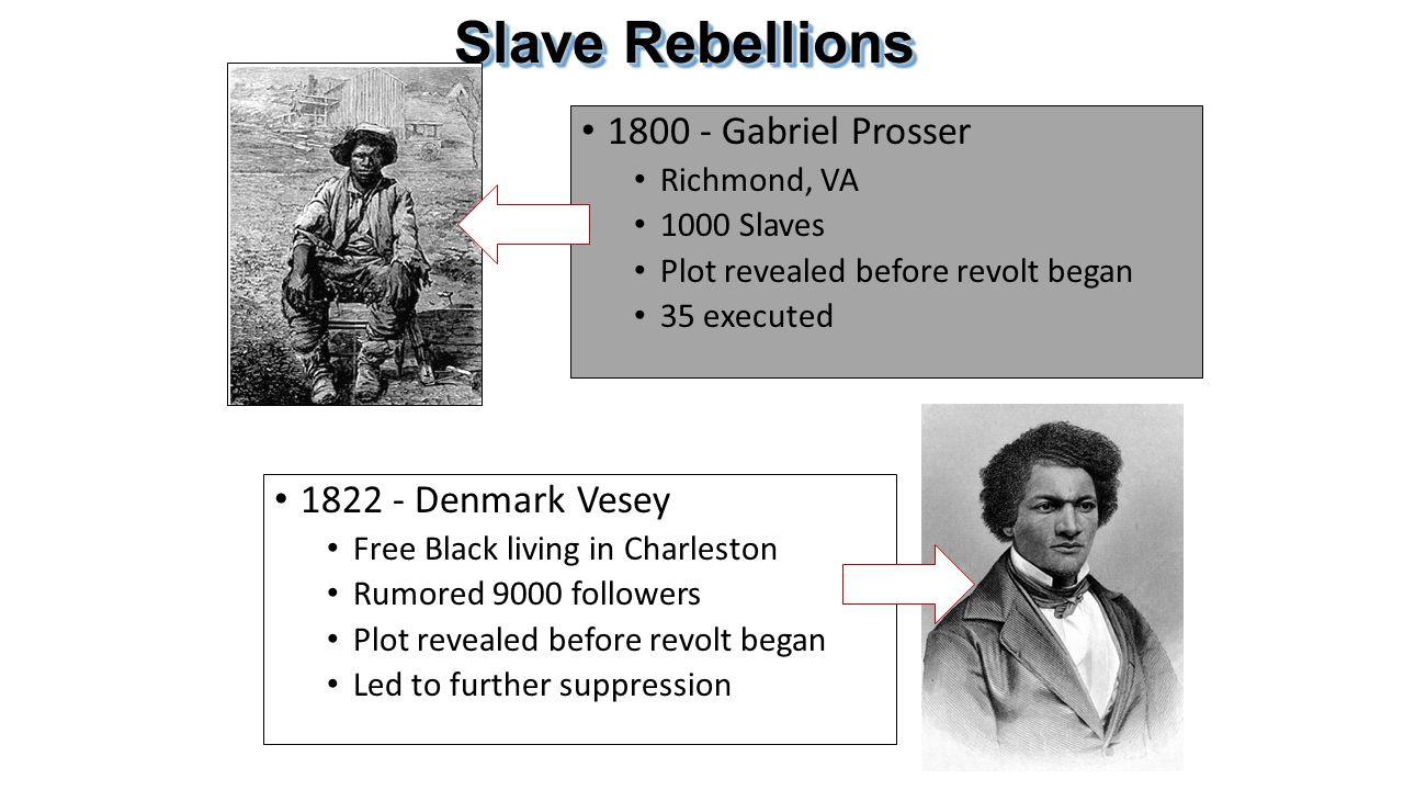 Slave Rebellions 1800 - Gabriel Prosser 1822 - Denmark Vesey
