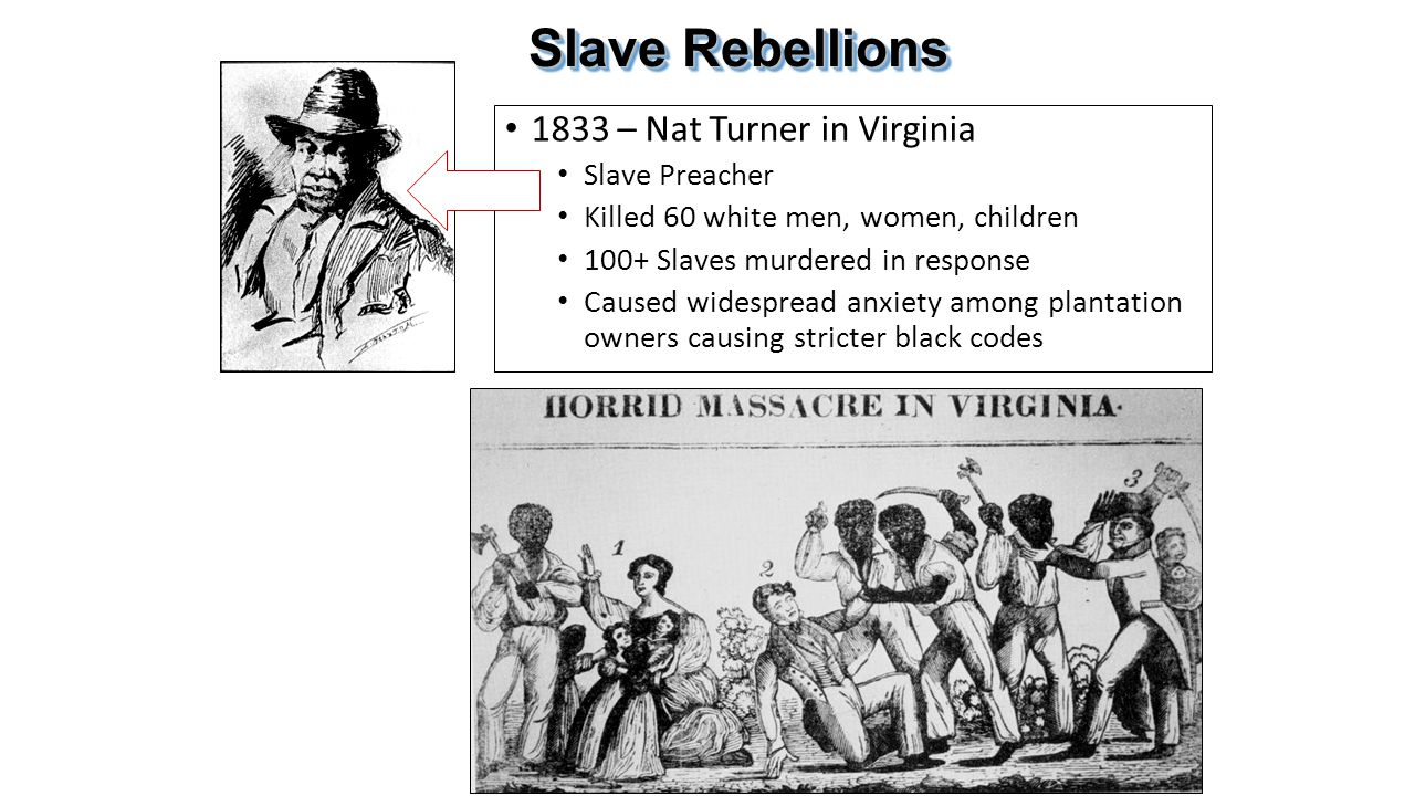 Slave Rebellions 1833 – Nat Turner in Virginia Slave Preacher