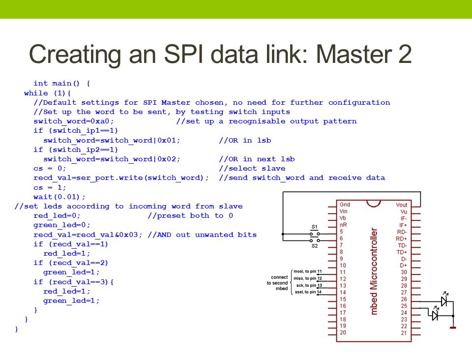 Creating an SPI data link: Master 2