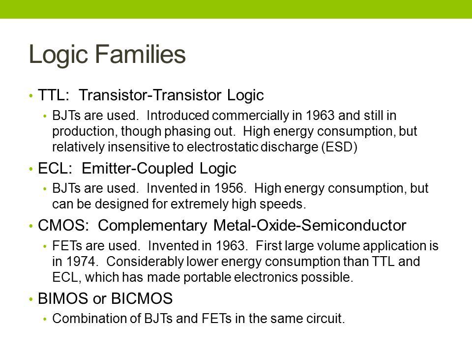 Logic Families TTL: Transistor-Transistor Logic