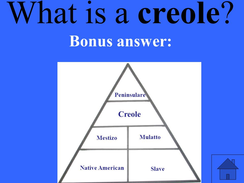 What is a creole Bonus answer: Creole Peninsulare Mestizo Mulatto