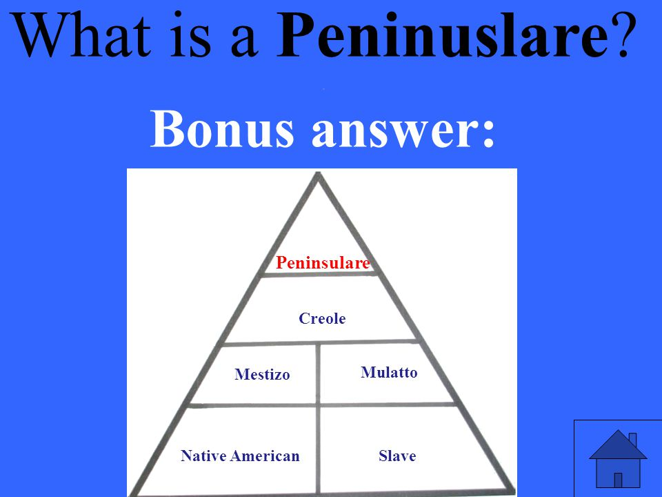 What is a Peninuslare Bonus answer: . Peninsulare Creole Mestizo