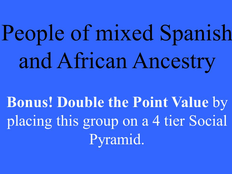 People of mixed Spanish and African Ancestry