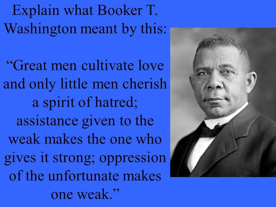 Explain what Booker T. Washington meant by this: