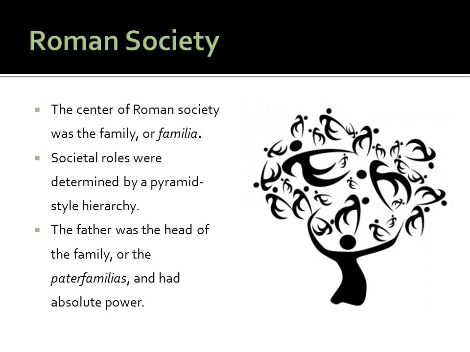 Roman Society The center of Roman society was the family, or familia.